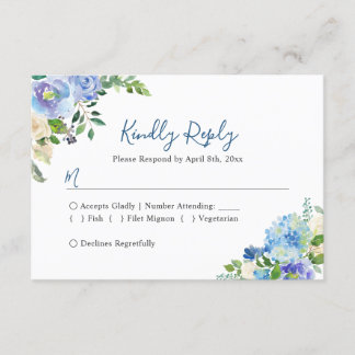 Blue Hydrangeas Floral Chic Wedding RSVP Reply