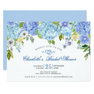 Blue Hydrangeas Floral Greenery Bridal Shower Invitation