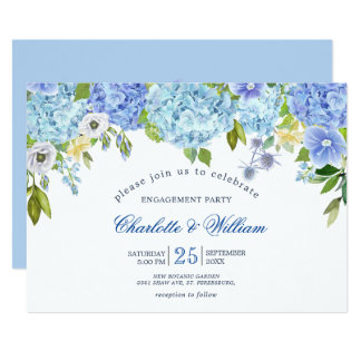 Blue Hydrangeas Floral Greenery ENGAGEMENT PARTY Invitation