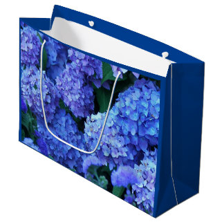 Blue Hydrangeas Floral Large Gift Bag