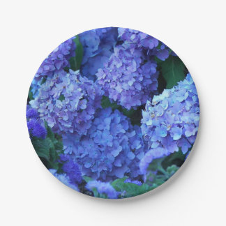 Blue Hydrangeas Floral Paper Plate