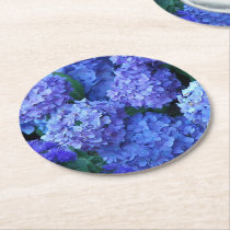 Blue Hydrangeas Floral Round Paper Coaster