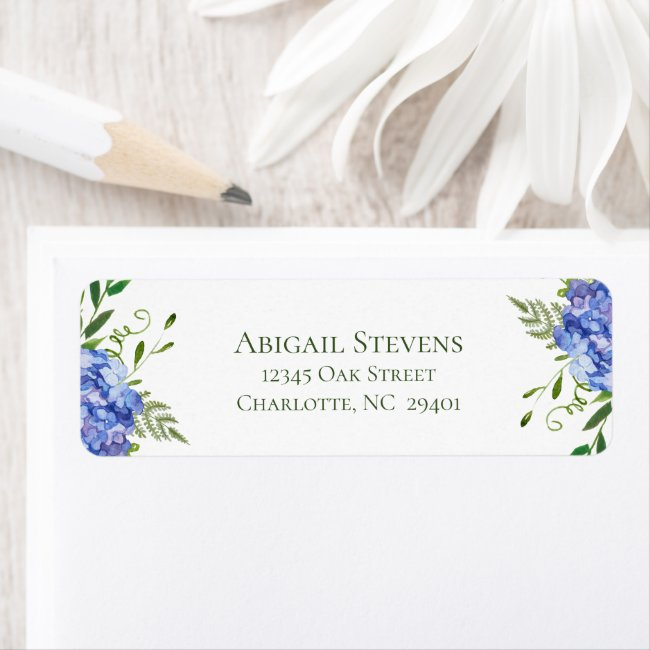 Blue Hydrangeas Floral Wedding Return Address Label