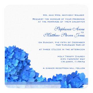 "Blue Hydrangeas Garland Wedding Invitations 2, Sky 5.25"" Square Invitation Card"