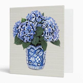 Blue Hydrangeas in a Floral Ceramic Pot Binder