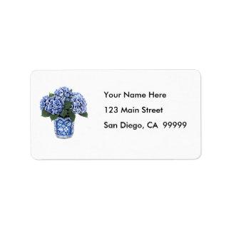 Blue Hydrangeas in a Floral Ceramic Pot Labels