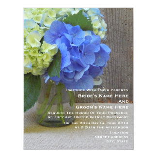 """Blue Hydrangeas In A Mason Jar Wedding 4.25"""" X 5.5"""" Invitation Card"""