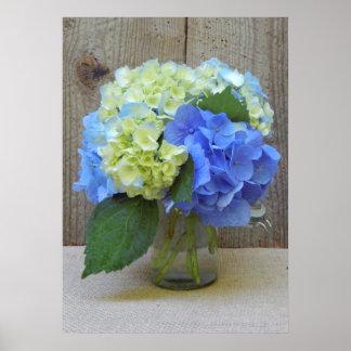Blue Hydrangeas In Mason Jar Poster