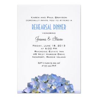 "Blue Hydrangeas Linen Rehearsal Dinner Invite 5"" X 7"" Invitation Card"
