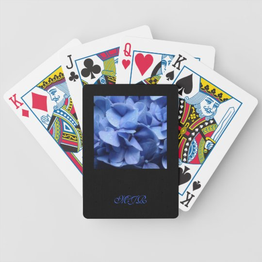 Blue Hydrangeas - Monogram Bicycle Playing Cards