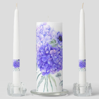 Blue Hydrangeas Pale Lavender Eucalyptus Greenery Unity Candle Set