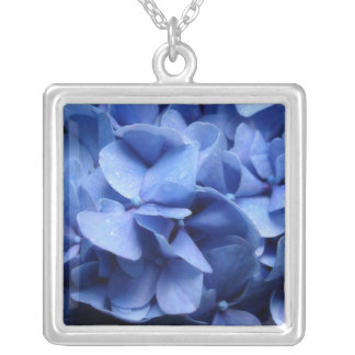 Blue Hydrangeas Silver Plated Necklace