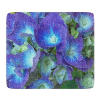 Blue Hydrangeas Small Glass Cutting Board