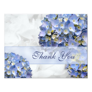 "Blue Hydrangeas Thank You Cards, ""Alpha"" 4.25x5.5 Paper Invitation Card"