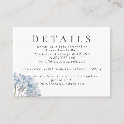 Blue Hydrangeas Watercolor Wedding Details Enclosure Card