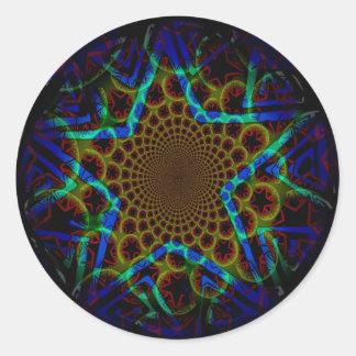 Blue Hypnotic Star Classic Round Sticker