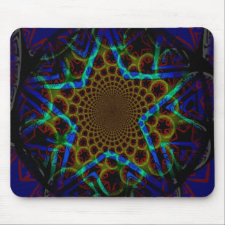 Blue Hypnotic Star Mouse Pad