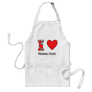 blue i love costomized adult apron