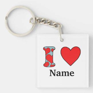 Blue i love costomized keychain