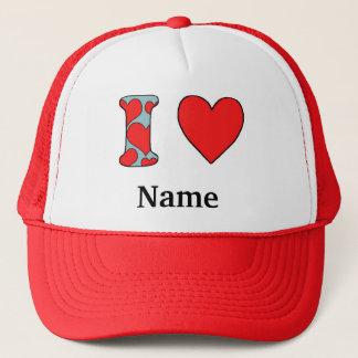 blue i love costomized trucker hat