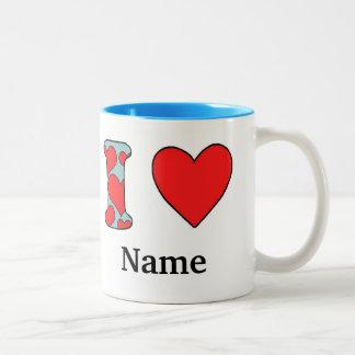 Blue I love costomized Two-Tone Coffee Mug