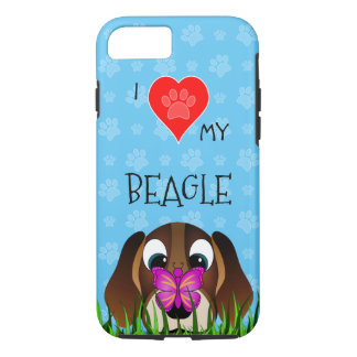 Blue I Love Heart My Beagle and Butterfly Durable iPhone 8/7 Case