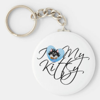 Blue I Love My Kitty Keychains
