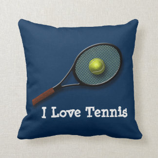 """Blue """"I Love Tennis"""" Throw Pillow with Racket"""