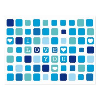 Blue 'I love you' mosaic postcard