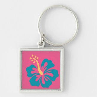 Blue Ibiscus Flower Keychain