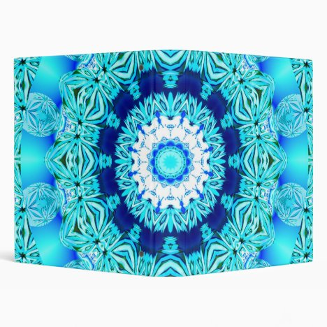 Blue Ice Angel Ring, Abstract Mandala 3 Ring Binder