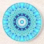 Blue Ice Angel Ring, Abstract Mandala Beverage Coasters