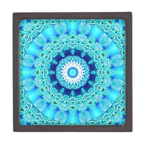 Blue Ice Angel Ring, Abstract Mandala Jewelry Box