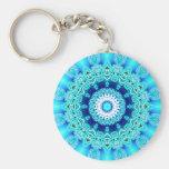 Blue Ice Angel Ring, Abstract Mandala Keychains
