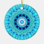 Blue Ice Angel Ring, Abstract Mandala Ornament