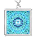 Blue Ice Angel Ring, Abstract Mandala Pendants