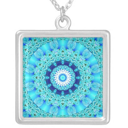 Blue Ice Angel Ring, Abstract Mandala Pendants