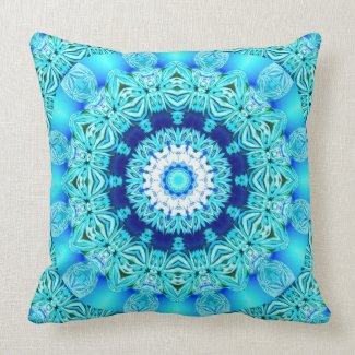 Blue Ice Angel Ring, Abstract Mandala Throw Pillows