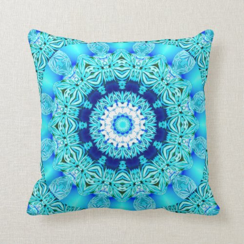 Blue Ice Angel Ring, Abstract Mandala Throw Pillows