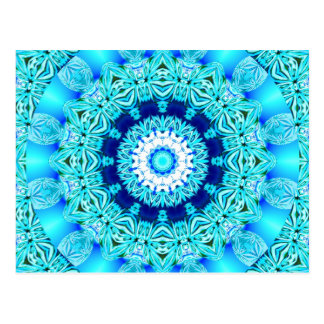 Blue Ice Angel Ring, Abstract Mandala Post Cards
