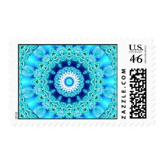 Blue Ice Angel Ring, Abstract Mandala Postage