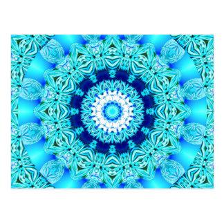 Blue Ice Angel Ring, Abstract Mandala Postcard