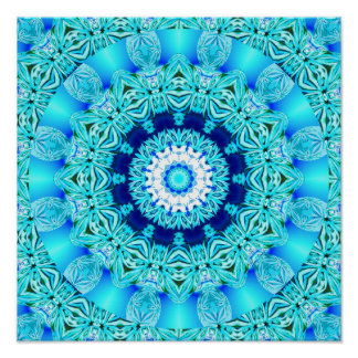 Blue Ice Angel Ring, Abstract Mandala Poster