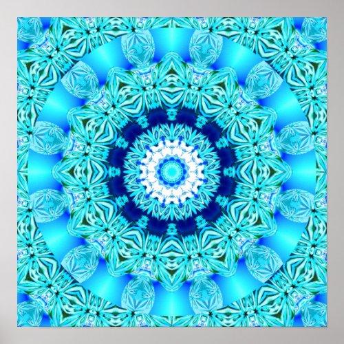 Blue Ice Angel Ring, Abstract Mandala Poster