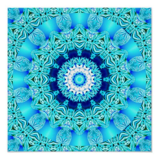 Blue Ice Angel Ring, Abstract Mandala Posters