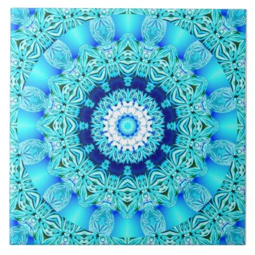 Blue Ice Angel Ring, Abstract Mandala Tile