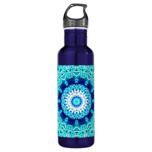 Blue Ice Angel Ring, Abstract Mandala Water Bottle