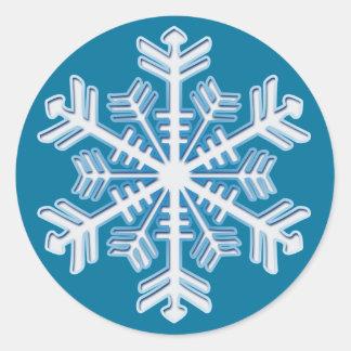 Blue Ice Crystal Snowflake Sticker