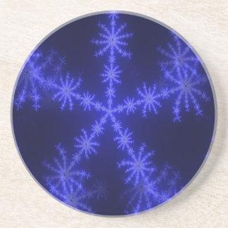 BLUE ICE CRYSTAL SNOWFLAKE WINTER HOARFROST DIGITA COASTER