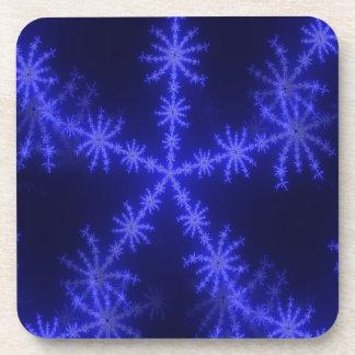 BLUE ICE CRYSTAL SNOWFLAKE WINTER HOARFROST DIGITA DRINK COASTER
